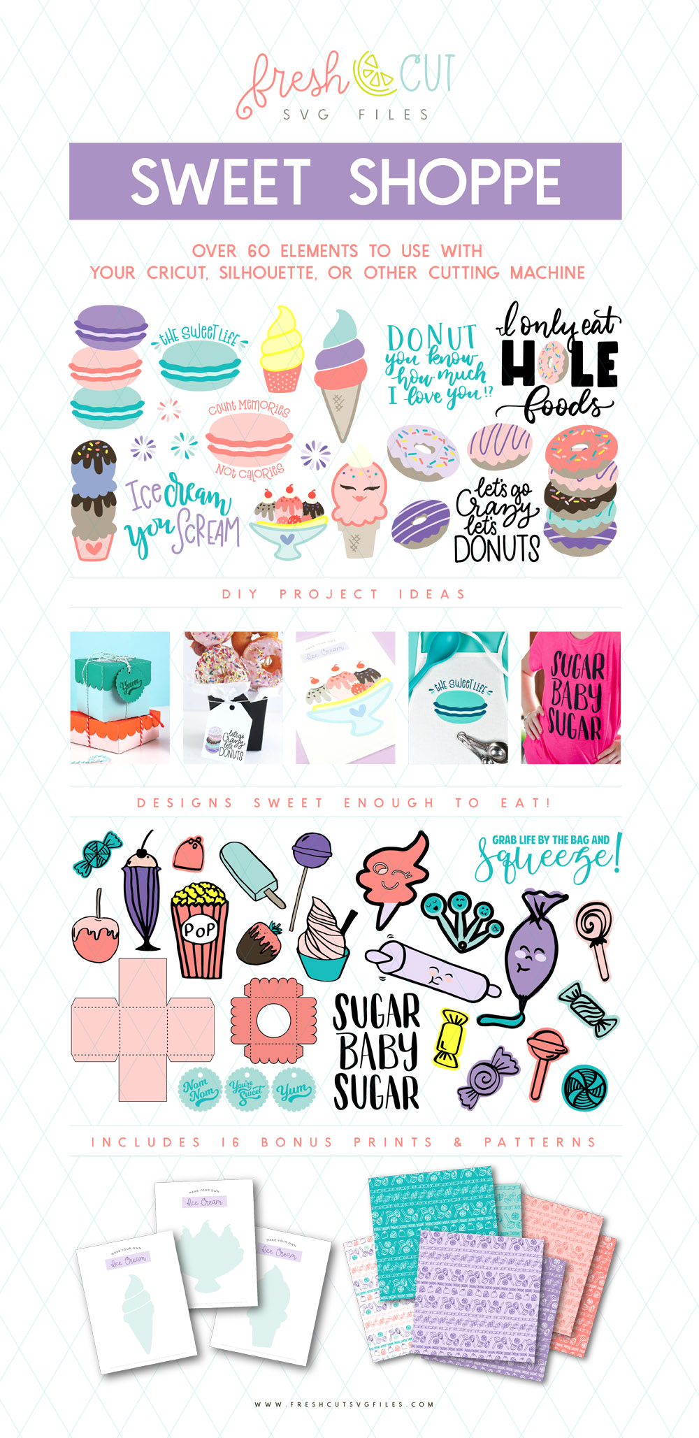 Fresh Cut Sweet Shoppe SVG Cut Files Bundle with Bonuses!