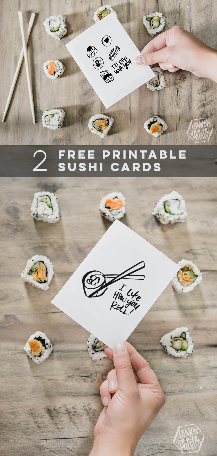 Two free printable sushi cards- collage image of two cards over sushi