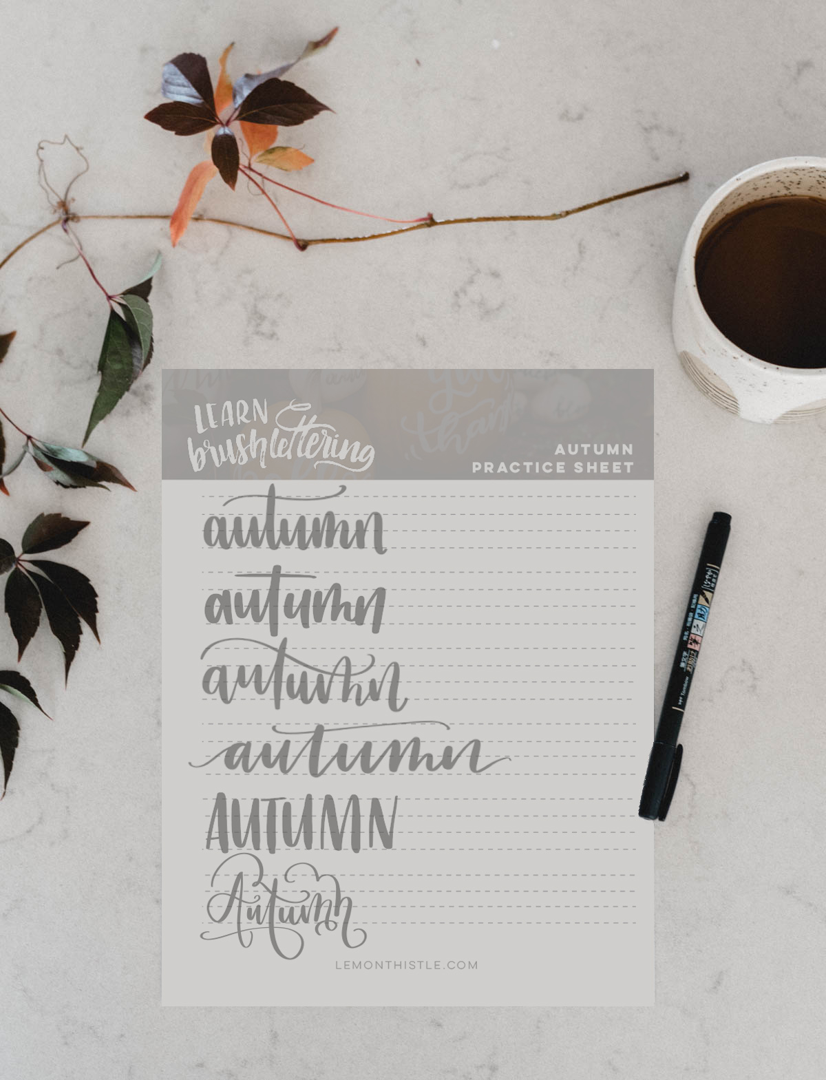 image about Lettering Printable identify Autumn Hand Lettering Train Sheet - Totally free Printable