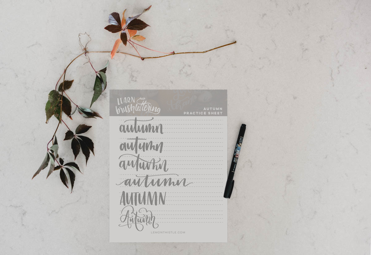 Free printable hand lettering practice sheet for autumn- to be used with small brush pens