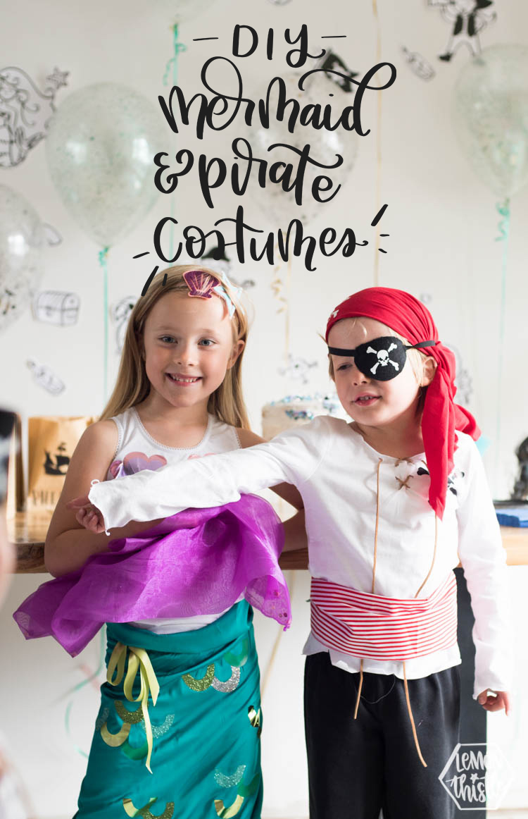mermaid and pirate costume. Text overlay reads: DIY Mermaid and Pirate Costumes