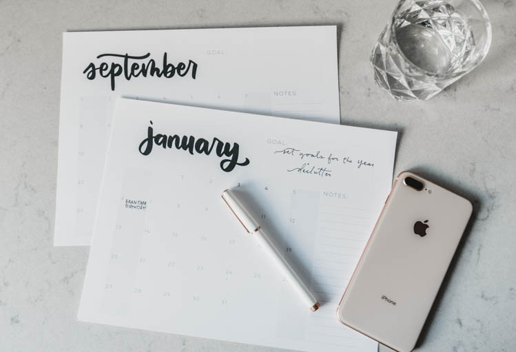 2019 printable calendars with hand lettering- grid style with space for goals and notes