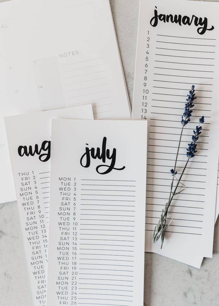 2019 Calendars - Free Printable list style calendars- 4 DIFFERENT STYLES