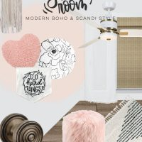 Girls Bedroom Makeover Design Board- scandi boho style