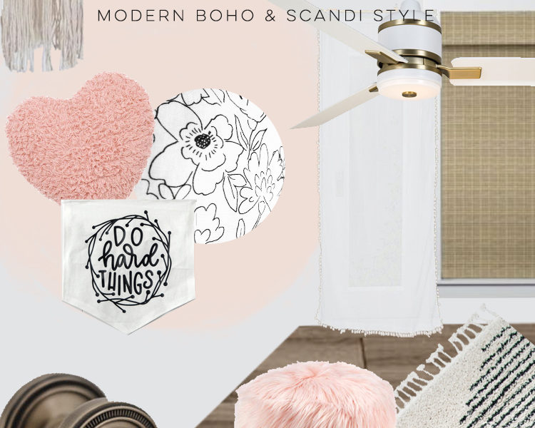 Girls Bedroom Makeover Design Board- scandi boho style