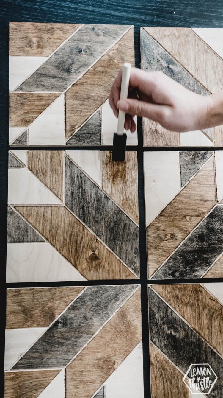 Precut wood panels for a DIY geometric wood sign