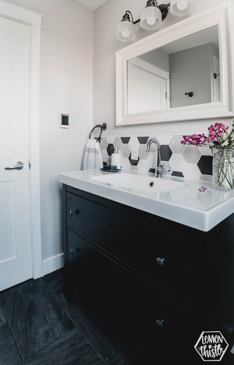 Modern Black and White Bathroom with hexagon tiles