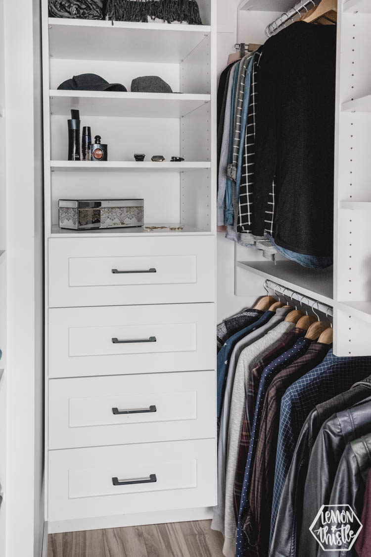 Bank of drawers in walk in closet