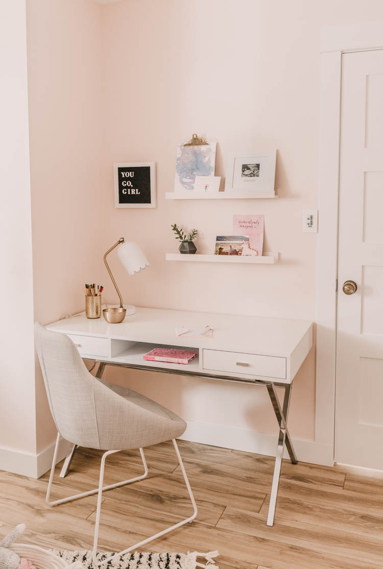 Pretty little girls desk area- love the shelves to display her art