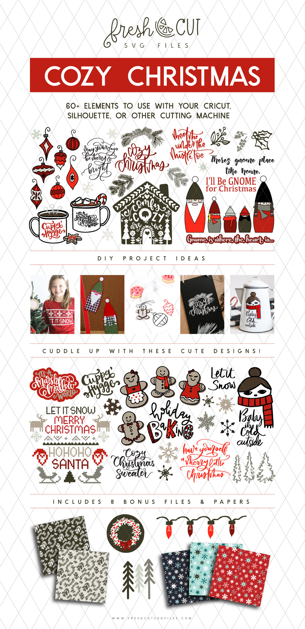 This bundle is so freaking cute! Perfect for holiday crafts. Cozy christmas svg cut files bundle