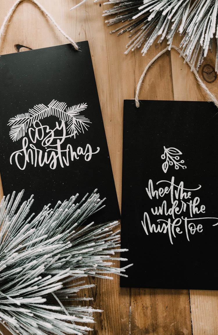 DIY Faux Chalkboard Signs & Cozy Christmas Hand Lettered SVG Bundle!