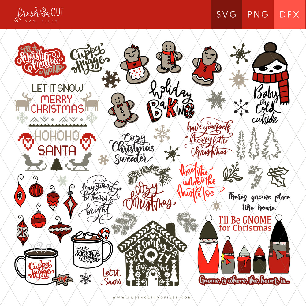 cozy christmas svg cut files bundle collage of all main files