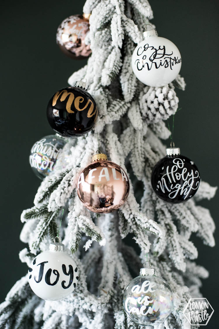 The perfect gift to craft for the holidays! DIY Handlettered Ornaments- 3 ways to make them