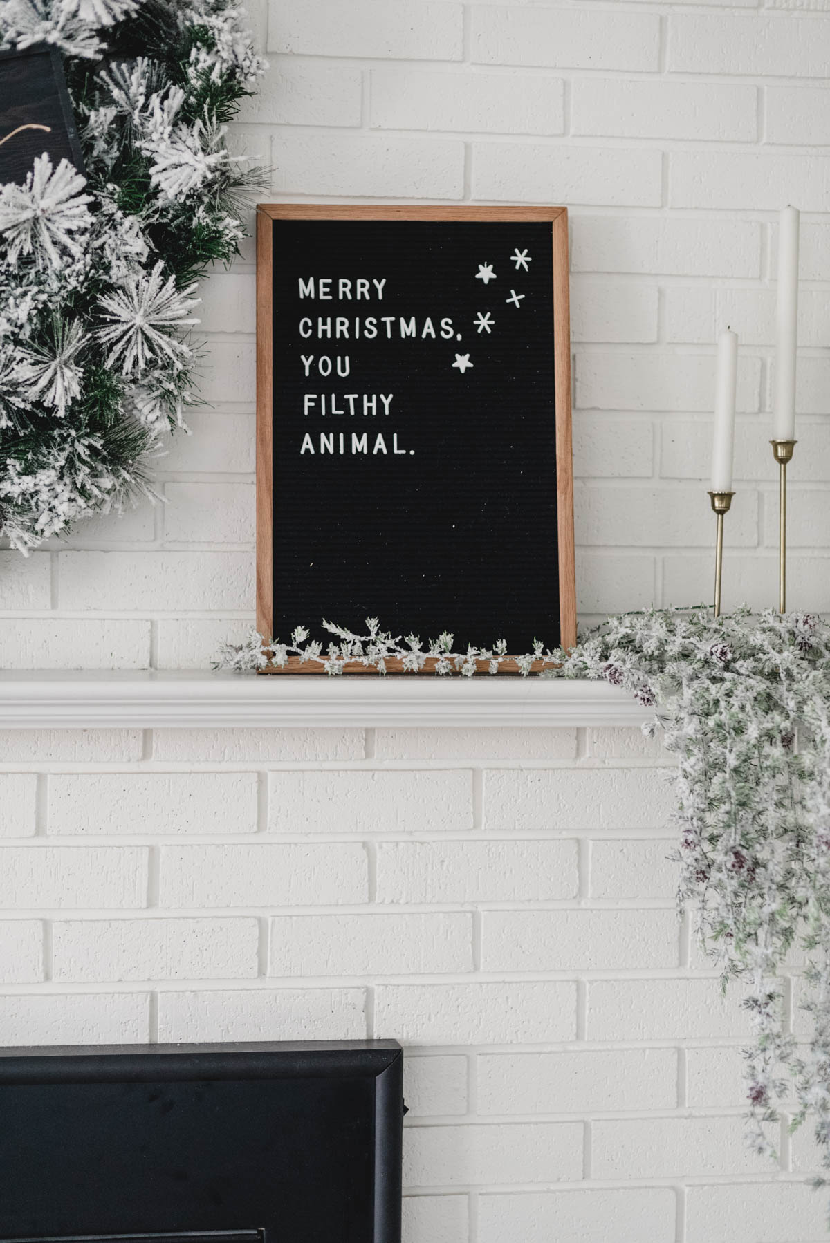Holiday letterboard- merry christmas you filthy animal!