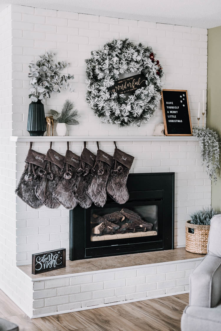 Christmas mantel- love the fur stockings with embroidered names!