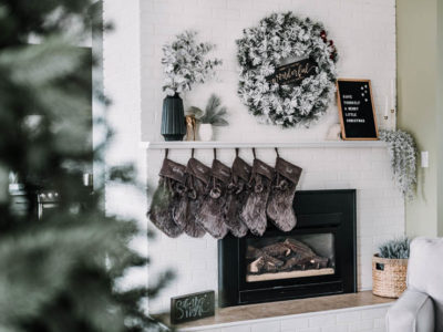 Such a pretty holiday mantel -modern and neutral