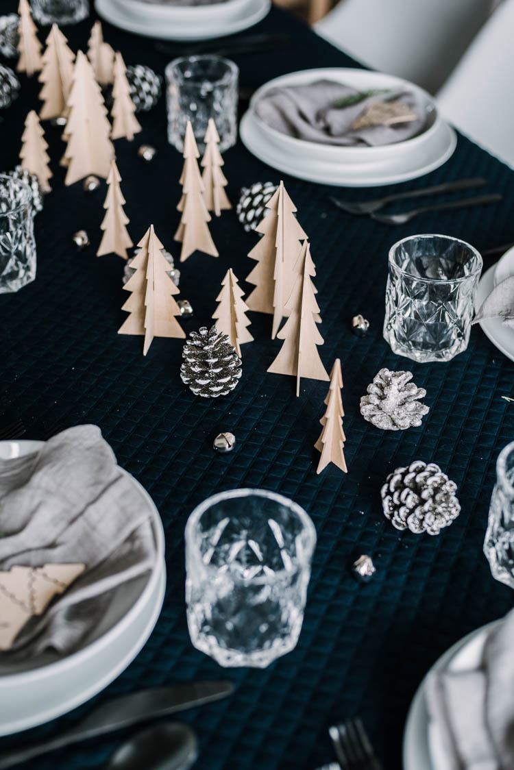 DIY Forest Tablescape with Wooden 3d trees