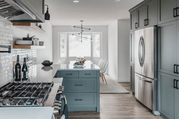 Modern Classic Grey Green Kitchen Remodel before and after