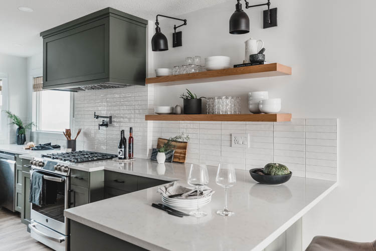 Stacked long subway tiles in a handmade look- helps it look not too modern!