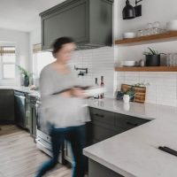 Grey Green Kitchen Tour with open shelving and bay windows