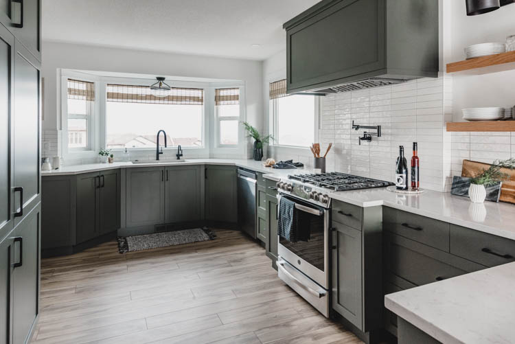 Love the light wood flooring in this kitchen remodel