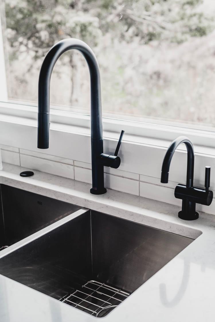 Modern Matte black hot water dispenser- matches the faucet beautifully!