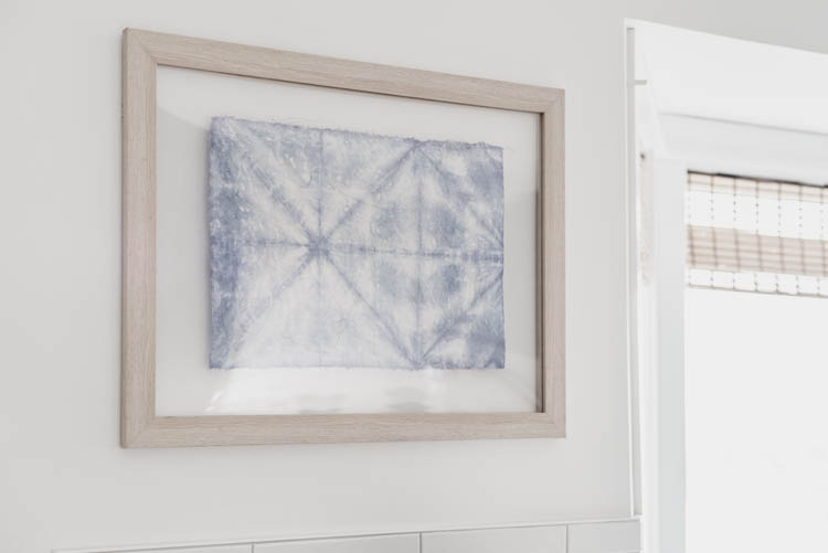 DIY Textile Art in a floating frame... plus simple faux shibori tutorial