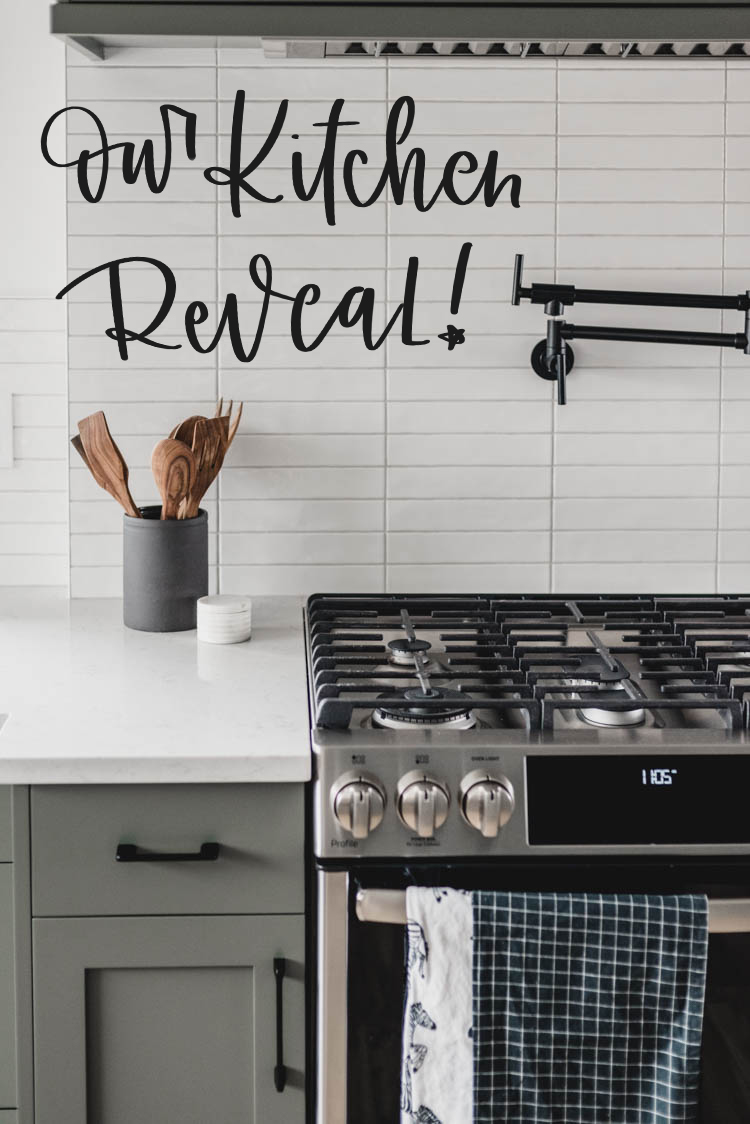 Title over photo: Our kitchen reveal! SO excited to share this modern space with classic touches