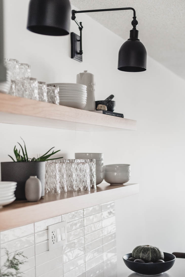 Practical but beautiful open shelving in the kitchen!