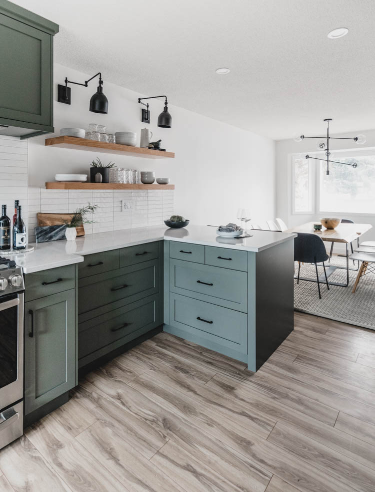 Kitchen tour- before and after of a family home remodelled with green kitchen cabinets!