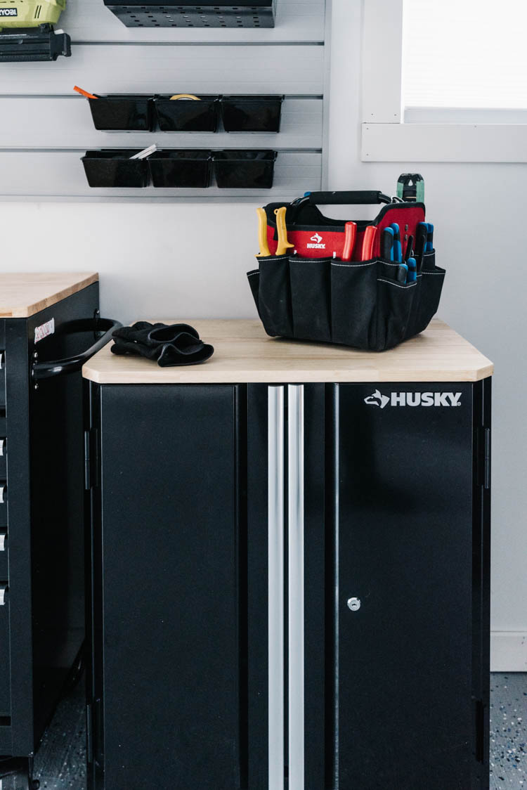 Small storage cabinet for garage workshop