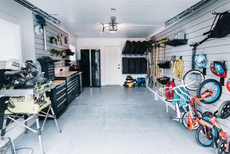A small Garage turned workshop + family storage. layout ideas