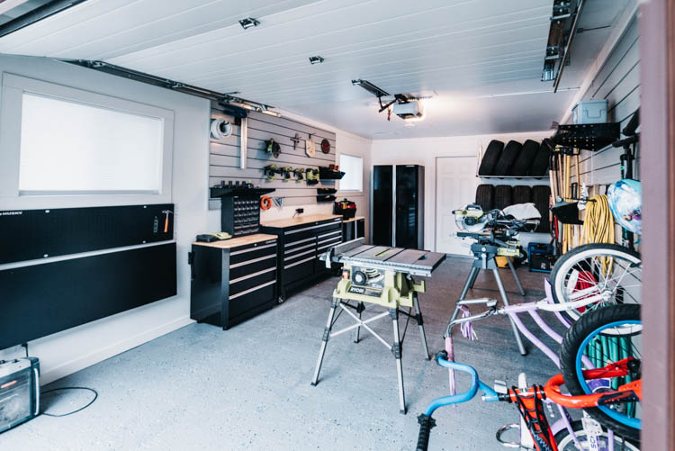 Finished garage ideas- from floors to windows to paint and window coverings