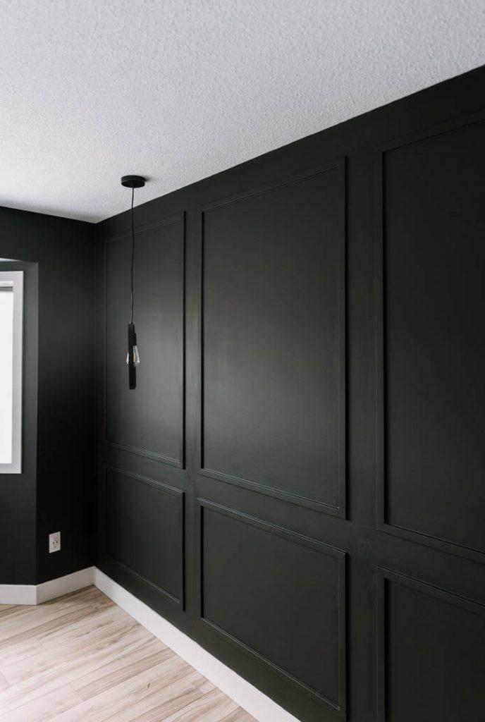 Moody black moulding wall DIY