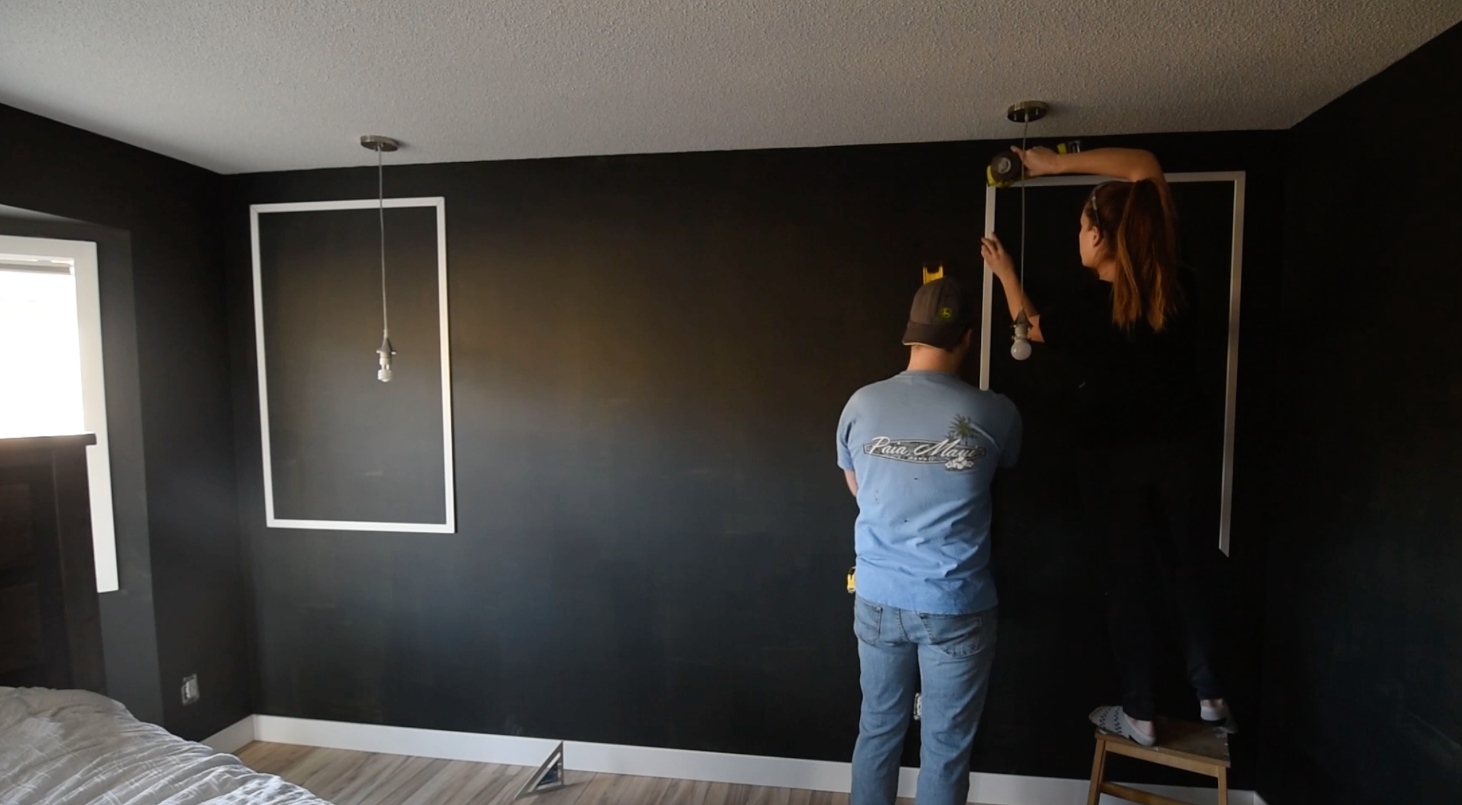 Installing picture frame moulding on a headboard wall