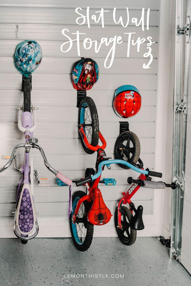 Bike hooks with small hooks for helmet- slat wall storage