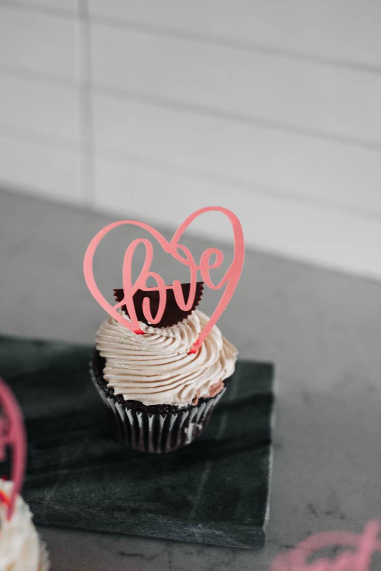 Love Cake topper on cupcake
