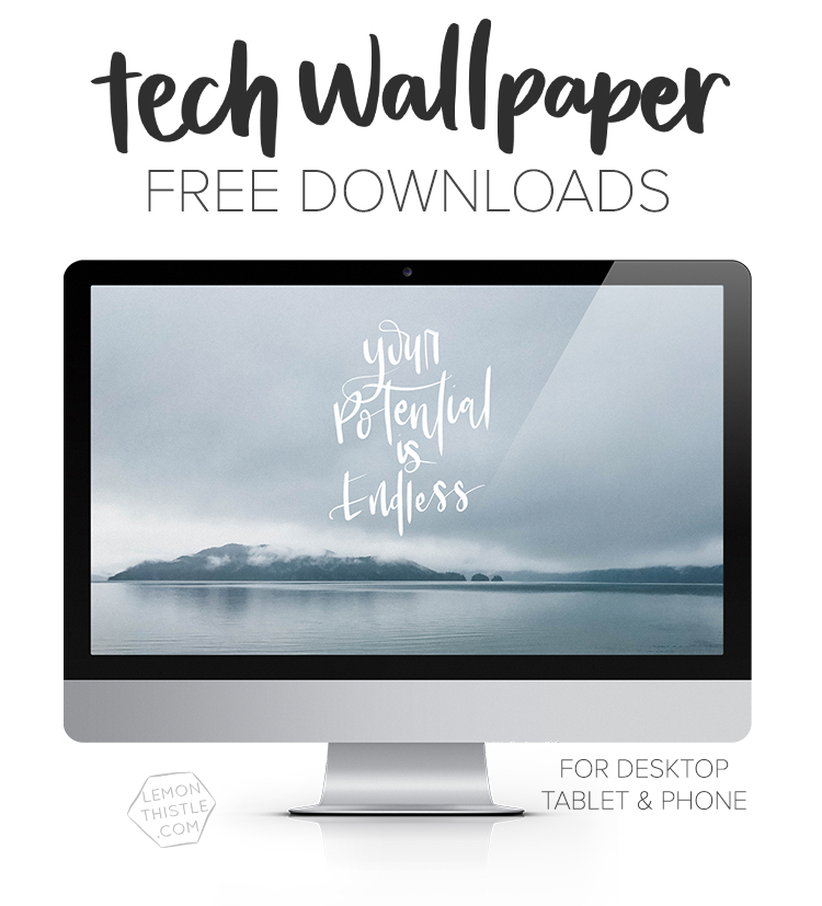 SO many hand lettered tech wallpapers here! New one each month