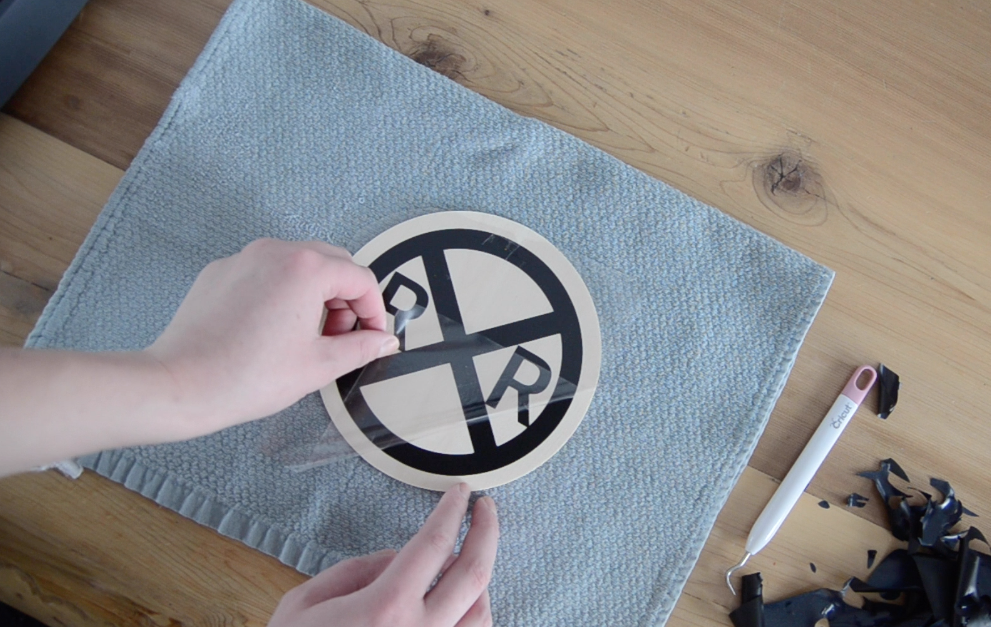 Iron on heat transfer vinyl to wood