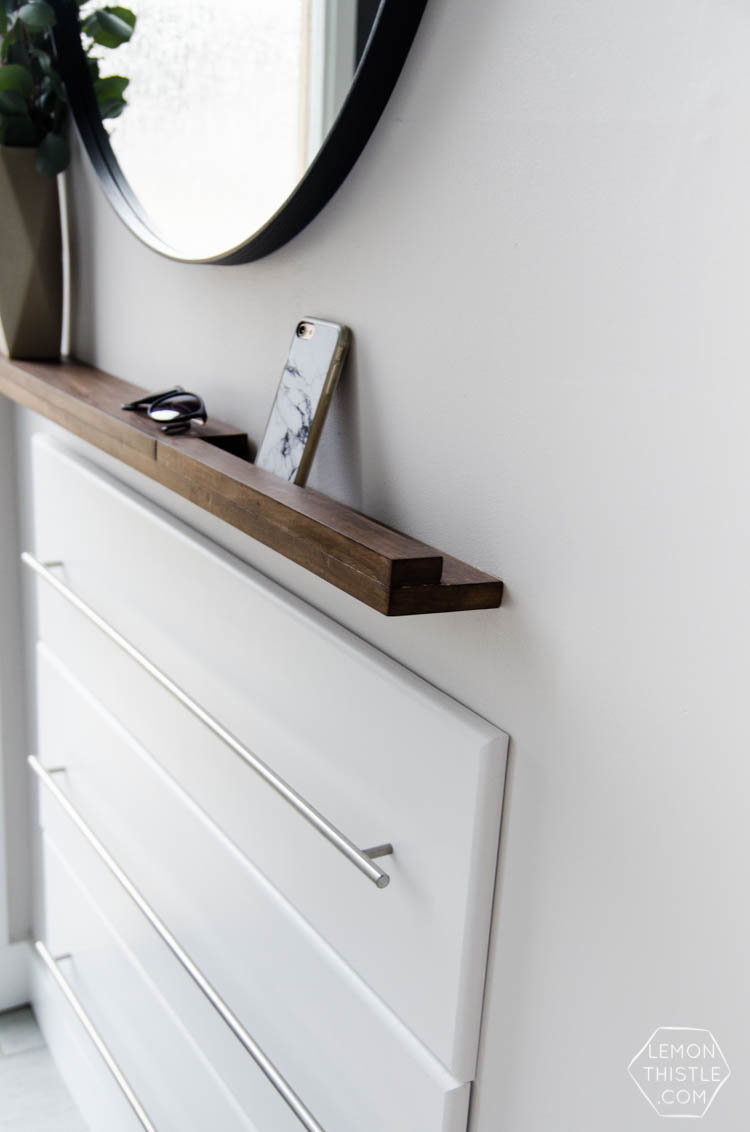 thin + modern! DIY Wood shelf ledge for entry