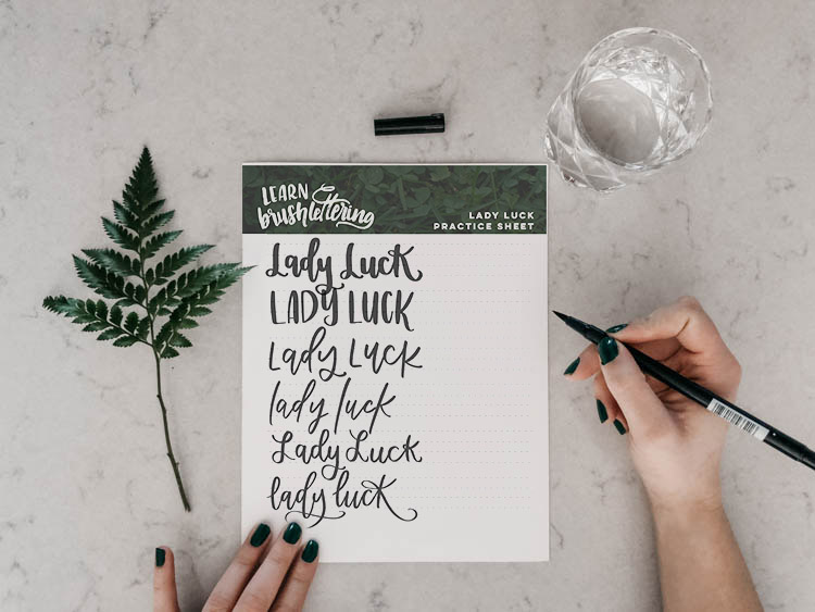 Free Printable Hand Lettering Practice Sheet - lady luck!