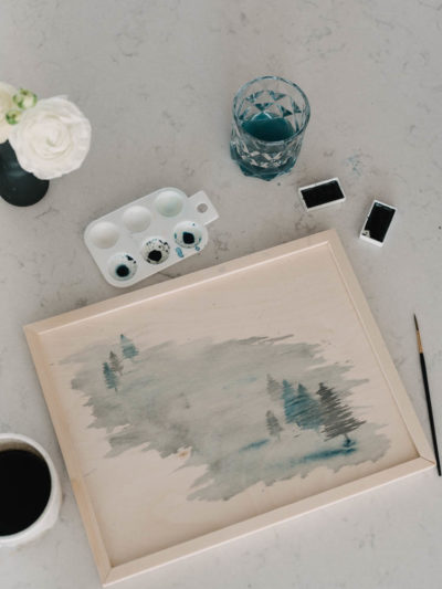 Painting watercolor on wood signs- DIY foggy trees tutorial!