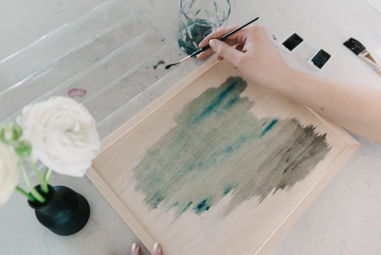 How to paint a watercolor wash on a wood canvas