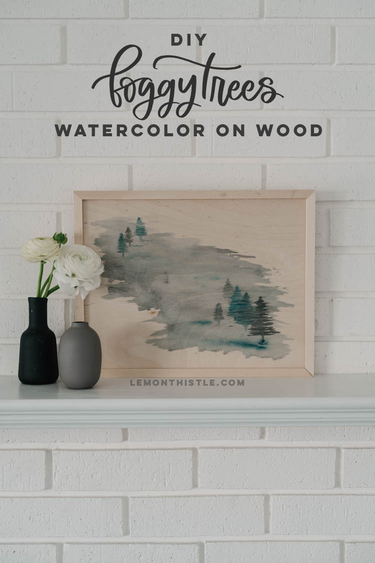 Painting watercolor on wood signs- DIY foggy trees tutorial!