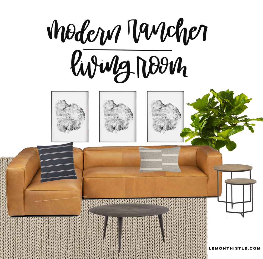 Modern Rancher Living Room Plans with article leather sofa and tree ring prints