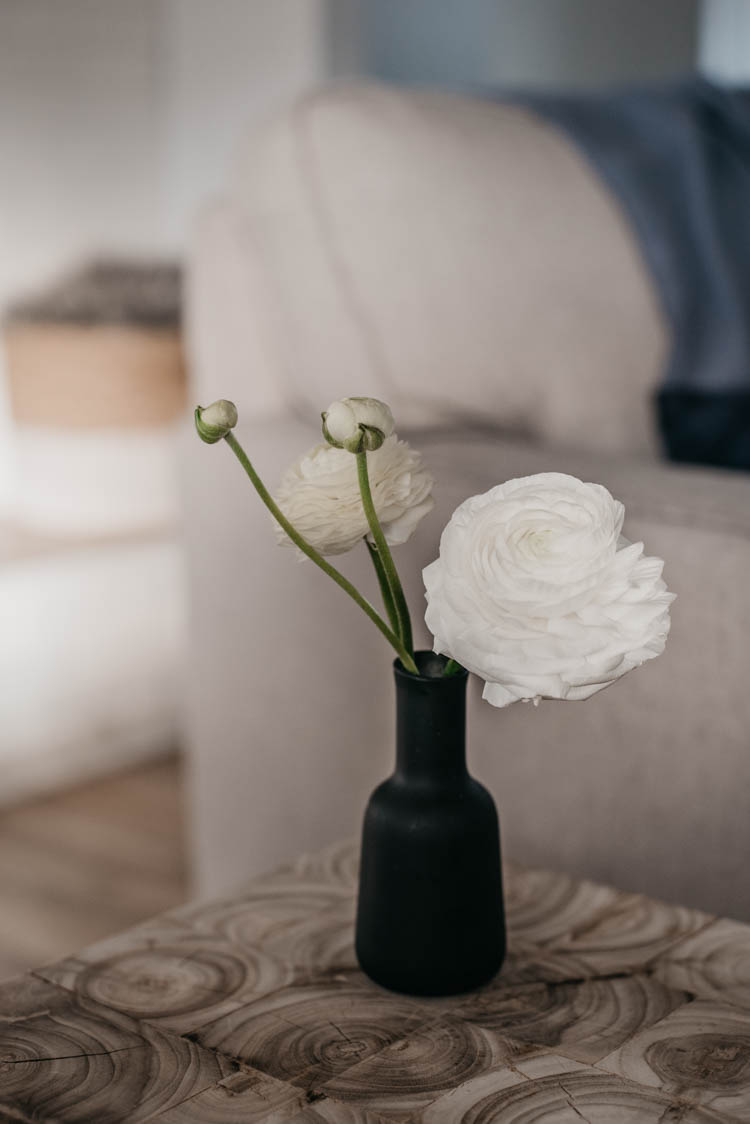 pretty white ranunculus in bud vase