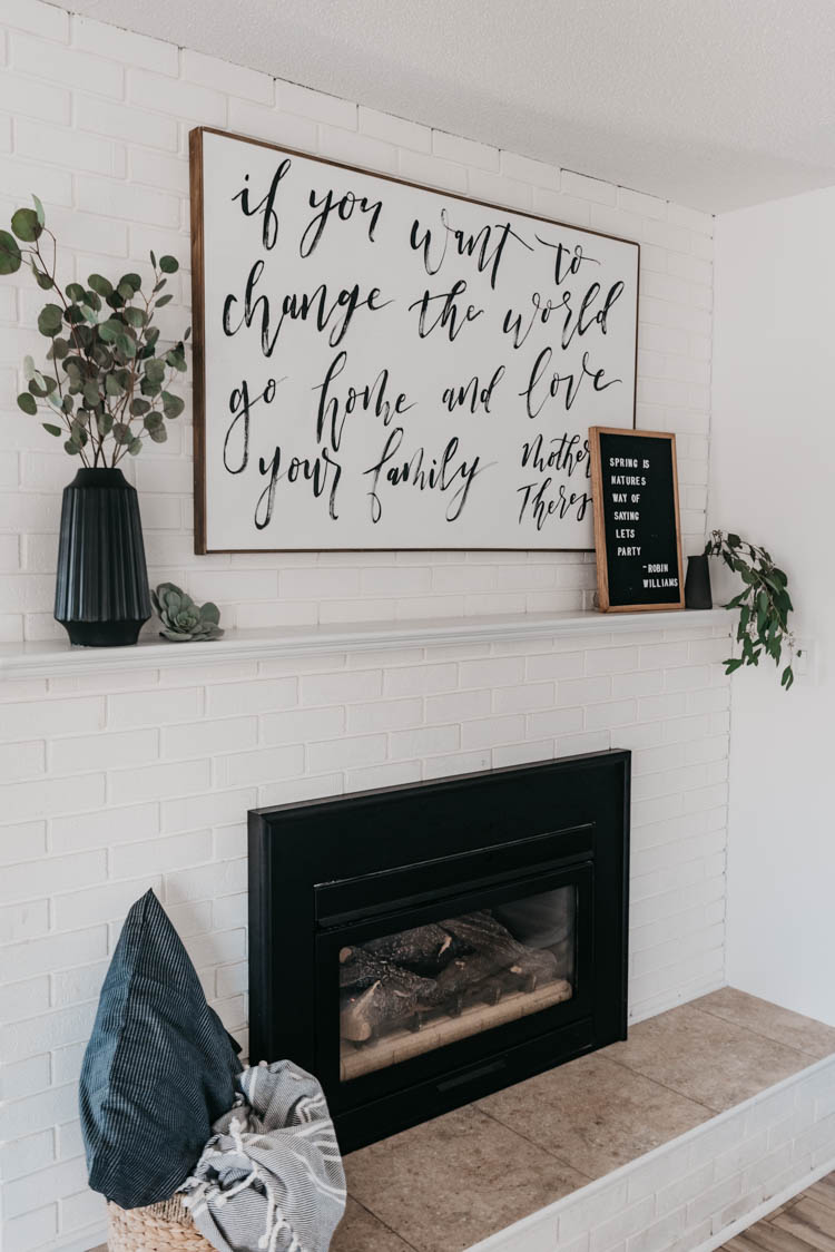 Minimal Spring Mantel decor... love the black and white with fresh greenery... so simple!