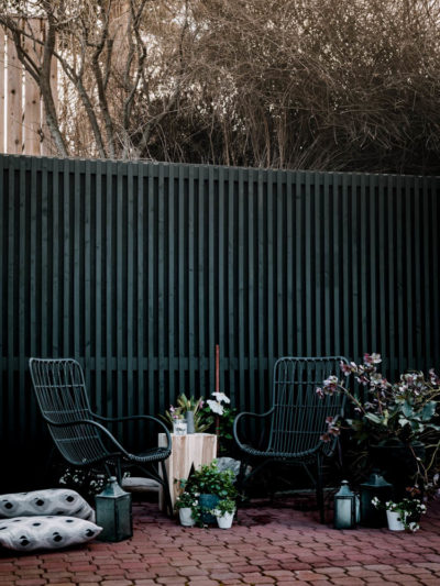 DIY concrete wall cover- with a modern patio screen!
