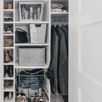 Tips for a functional entry way closet full of family friendly storage