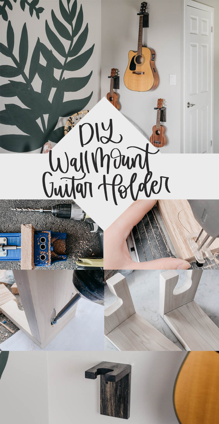 DIY Wall Mount Guitar Holders- Tutorial and plans